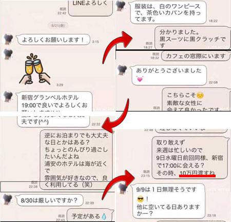 高崎聖子の援交LINEのやり取り流出画像