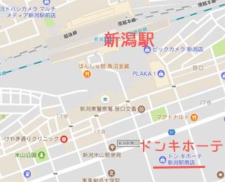 新潟駅南口付近のドンキホーテの地図の画像