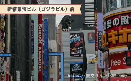 新宿駅周辺の援交女性ナンパスポット新宿東宝ビル(ゴジラビル)前の画像