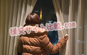 品川区の援交体験で東京の夜景に見とれる彼女の画像